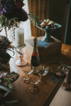 Bohemian Otaduy Dress Wedding Inspiration Shoot Flowers Fruit Candles Rich Colours Verdigris Event Design Styling Decorations Decor Hambledon House Marie Marry Me