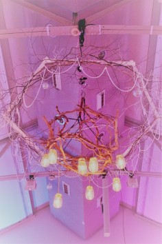 Helenic Christmas Party, Awesome Events, Wingnut Lighting, Chandelier, Winter Wonderland, Chrystals, Twigs, Glass, Maison Jar Lights, Vintage Bulbs