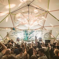 Rotillator, spinning, diamond, screen, hire, stretch fabric, sculpture, installtion, Event Design, Lighting, Wow Factor, Freerotation Festival, Dome (2)