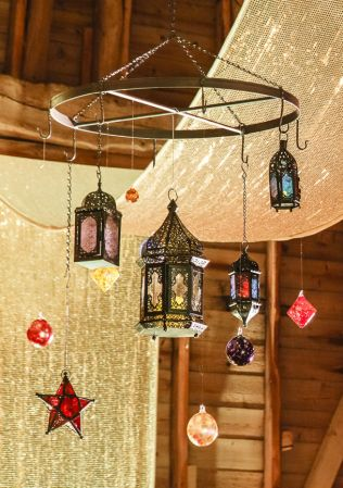 verdigris-stained-glass-chandeleir_moroccan-lanterns_blown-glass-baubles