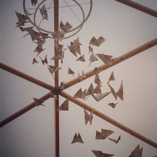 Origami Vintage Music Paper Butterfly Chandelier for Baya Hire Domes